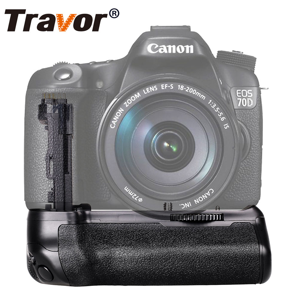 Empuñadura Vertical de la batería de Travor para la cámara Canon 70D 80D DSLR como trabajo BG E14 con batería LP E6-in empuñadura de batería from Productos electrónicos    1