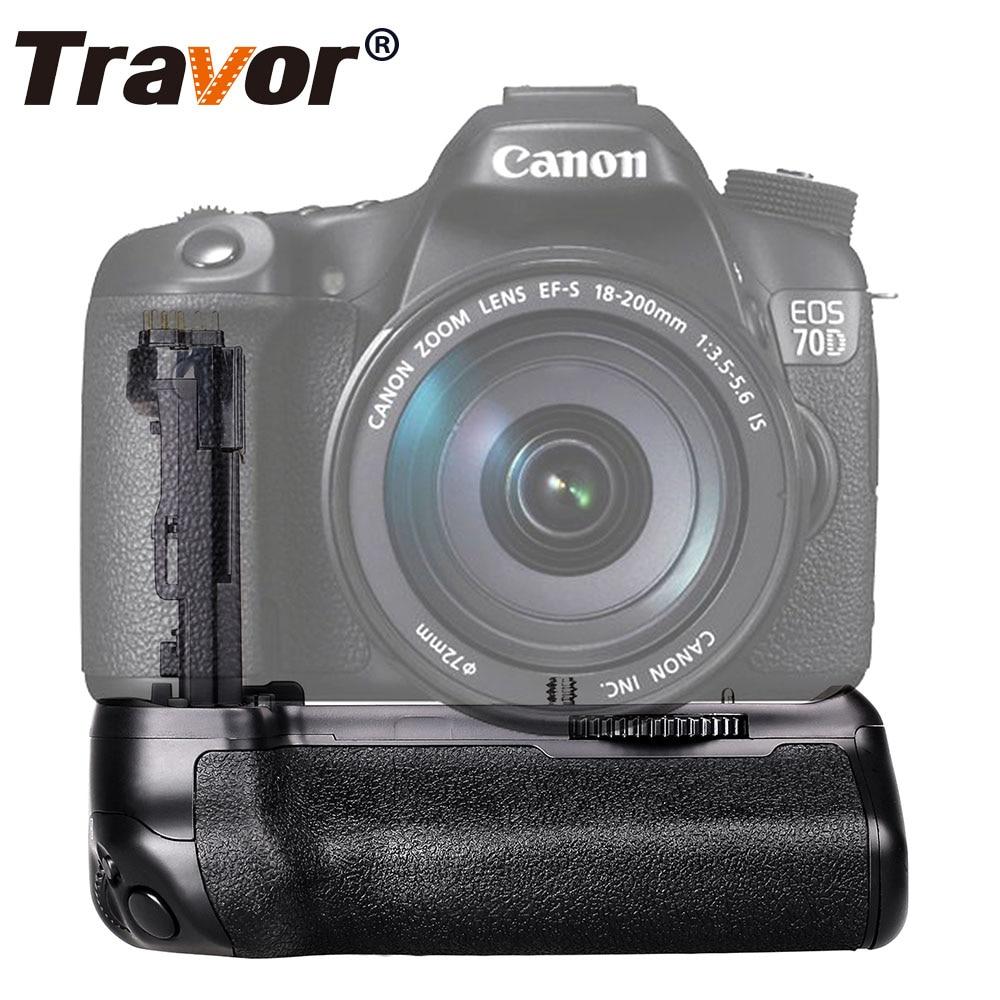 Poignée de batterie verticale Travor pour appareil photo reflex numérique Canon 70D 80D comme BG-E14 avec batterie de LP-E6