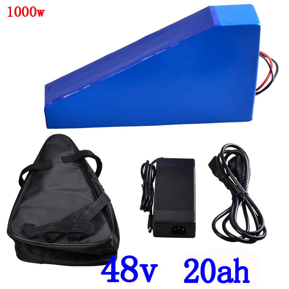 48V 1000W triangle battery 48V 20AH electric bike battery Lithium pack use 3.7V 2500mah 18650 cell with 54.6V 2Acharger+free bag48V 1000W triangle battery 48V 20AH electric bike battery Lithium pack use 3.7V 2500mah 18650 cell with 54.6V 2Acharger+free bag