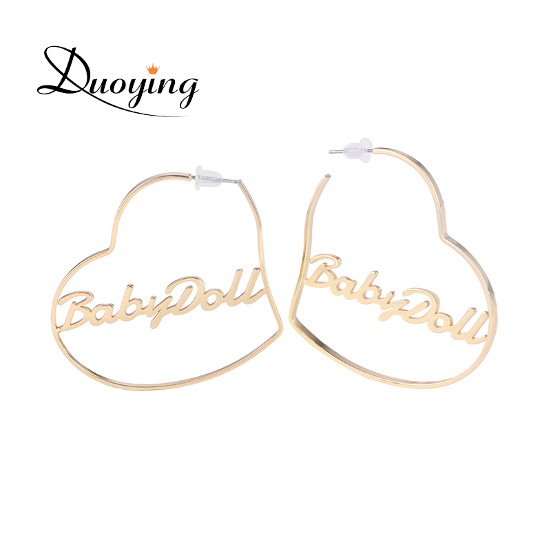 Duoying Heart Hoop Earring Custom Gold Name Personalized Any Words Earrings for Women Boho Jewelry Earrings for Etsy BFF Gifts duoying 40 4 mm bar bracelets rope custom name bracelet personalize string bracelet friendship family bracelets jewelry for etsy