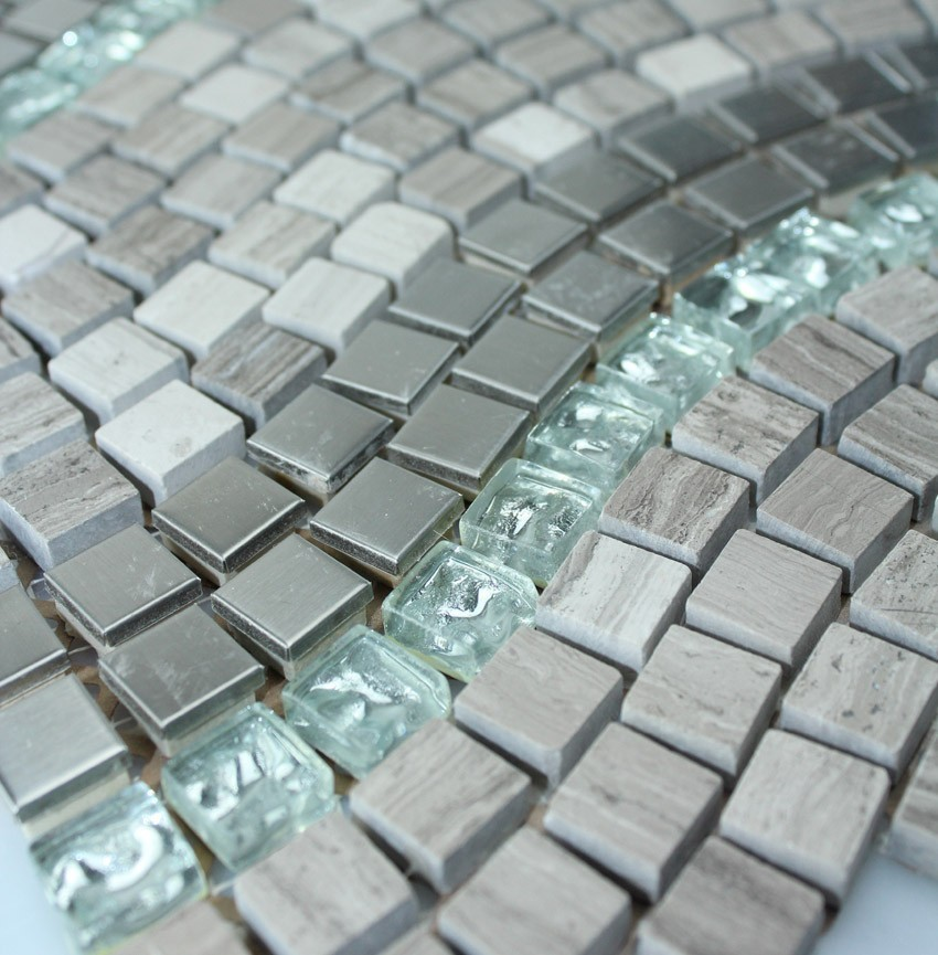 Grey Wooden Marble Stone Metal Glass mosaic tiles backsplash kitchen ...