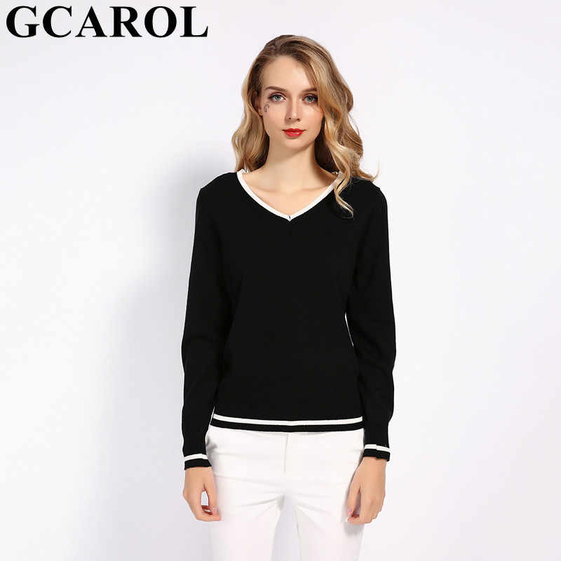 GCAROL 2019 V Neck Women 30% Wool Sweater OL Knit Jumper Stretch Elegant Knitted Pullover Fall Winter Render Knit Top Knitwear