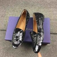 Модные Серебристые Мокасины с блестками, женские свадебные туфли с круглым носком, украшенные блестками, женская кожаная обувь