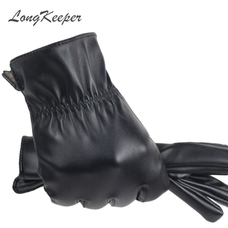 LongKeeper 2020 High Quality Spring Winter Male PU Leather Thick Black Touch Screen Gloves Man Car Driving Mittens Gants Mujer