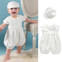 2pcs Baby Boys Toddler White Baptism Christening Gown Doll Collar Romper with Hat Short Sleeve Sz 0 24Month