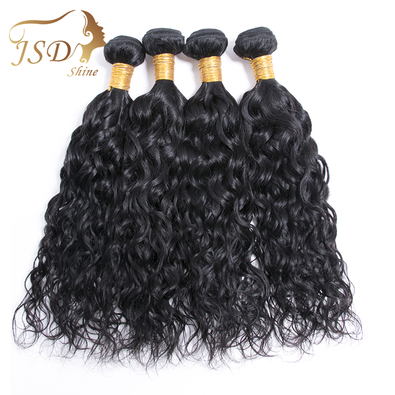 JSDShine Hair Bundle Mongolian Water Wave Human Hair 4 Bundles Deals Water Wave Natural Color Hair Extentions
