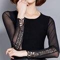 2016 primavera verano camisa femenina delgada básica de manga larga de encaje moda mujeres negro camiseta femenina del o-cuello suéter básico de la camisa de gasa