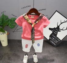 2019 Stylish Unisex Toddler Boys Clothing Set Kids Baby Girls Clothes Summer Outfits Scarf T-shirt+ Short Pants Suits Casual недорого