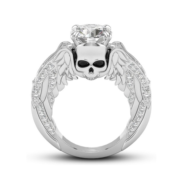 Prey Wedding Ring.Us 4 33 48 Off Vintage Tibetan Silver Angel Wings Rings For Women Skull Ring Crystal Fashion Jewelry Womens Accessories Fine Jewelry R476 In
