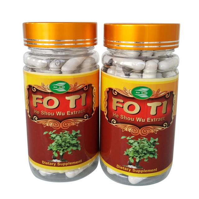2 Botellas de Fo-ti, 20:1 Ho Shou Wu Extracto de la Cápsula de 450 mg x 180 Recuentos de Anti-Envejecimiento de La Salud envío gratis