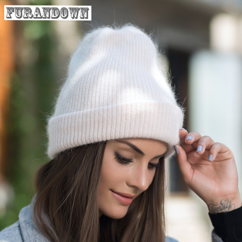 Rabbit Fur Hat Fashion Thick Knitted Winter Hats For Women Outdoor Casual Warm Cap Men Wool Skullies Beanies fibonacci winter hat knitted wool beanies skullies casual outdoor ski caps high quality thick solid warm hats for women