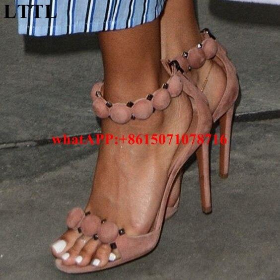 753d3e20fdc LTTL Fashion T-bar High Heels Women s Sandals Open Toe Sexy Summer Rihanna Party  Shoes Pom Pom Buttoned Straps Studded Sandals
