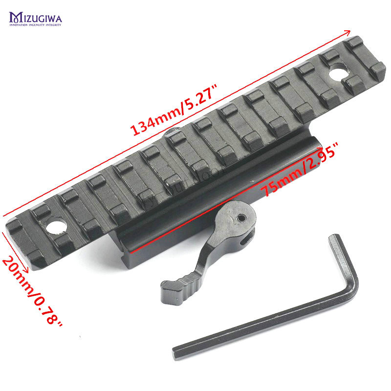 MIZUGIWA 13 Slots Converter Quick Release QD Dovetail Base 20mm Picatinny Rail Mount Adapter Weaver Scope Pistol Gun Hunting