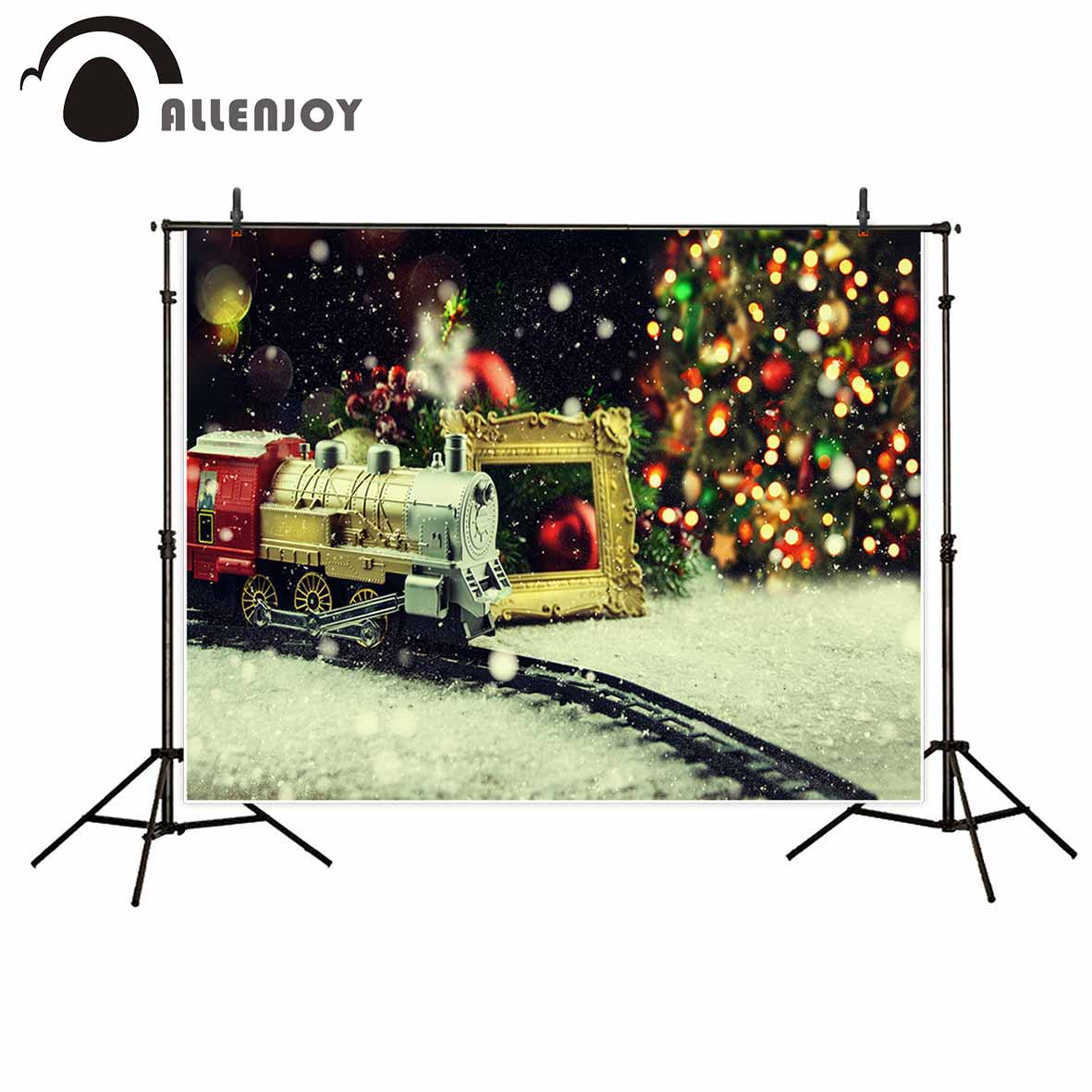 Allenjoy photography background Christmas train bokeh snow vintage backdrop photobooth for kids photo prop professional