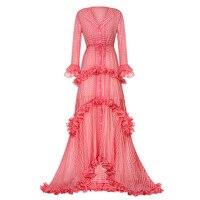 Women Maxi Dress Sweet Red Lapel Asymmetrical V Neck High Waisted Party Shopping Floor Length Spring