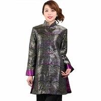 Модные черные женские Осень Длинная Куртка Женщины шелковый атлас пальто китайский воротник-стойка ветровка размеры S M L XL XXL, XXXL M-74