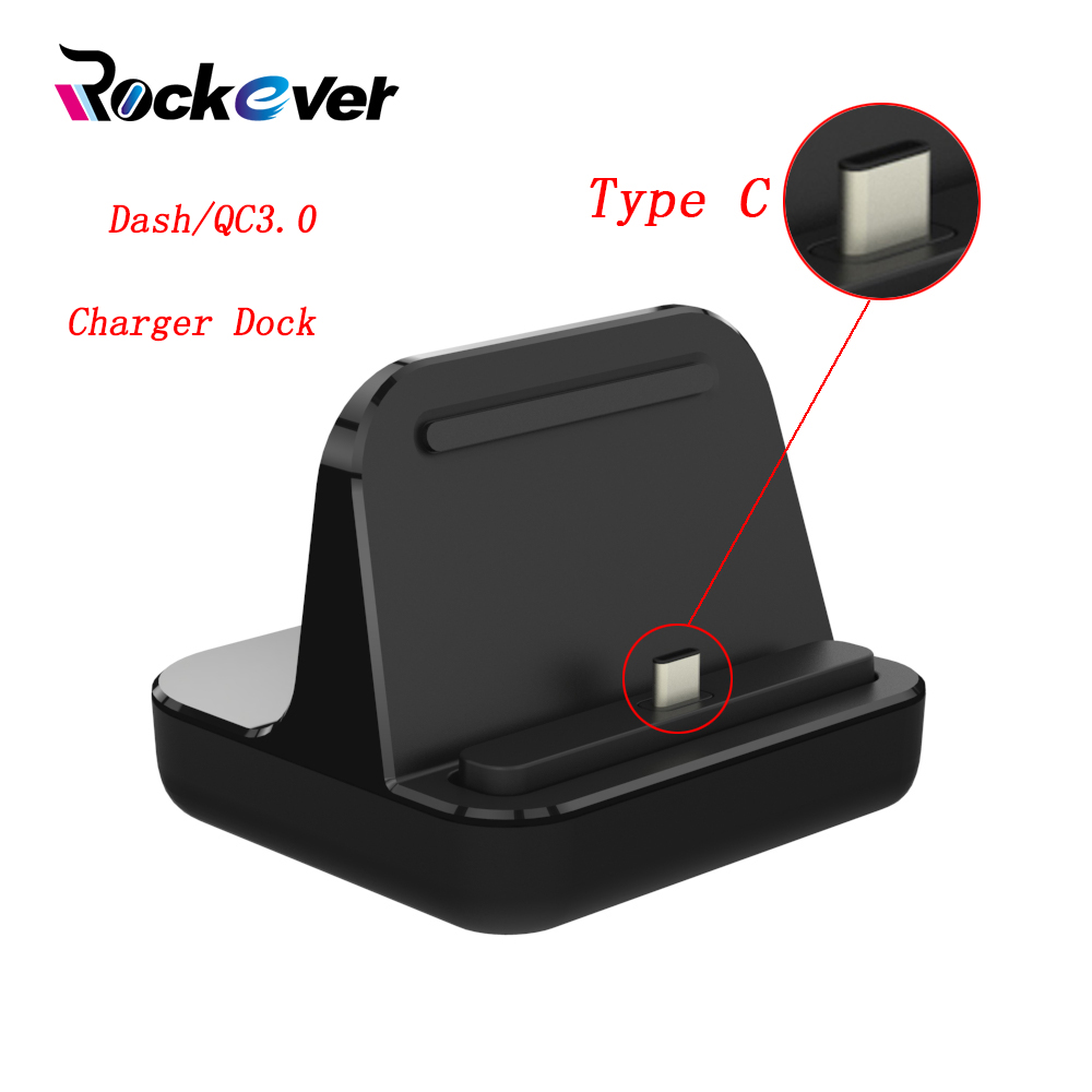 Rockever USB Type-C Charger Dock Station,Desktop Stand DASH/QC3.0 Fast Charging For Oneplus 3 3T 5 5T LG G5 G6 Galaxy S8 Plus