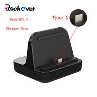 Rockever usbタイプ-c充電器ドックステーション、デスクトップスタンドダッシュ/QC3.0高