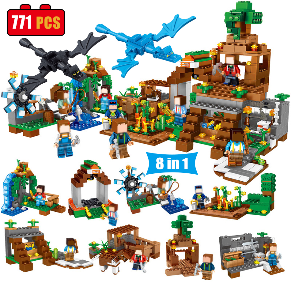 8 in 1 Manor Estate Village House Model figures Building Blocks Bricks Set Compatible Legoed Minecrafted toys for Children boys 523pcs 4 in 1 minecrafted classic tree house my world model figures building blocks bricks legoings toys for children gifts set