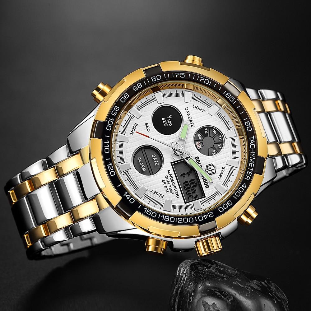 Image 5 - Goldenhour luxo clássico negócio relógio de quartzo dos homens  moda dupla exibição aço inoxidável relógios de pulso à prova dwaterproof  água masculinoRelógios de quartzo