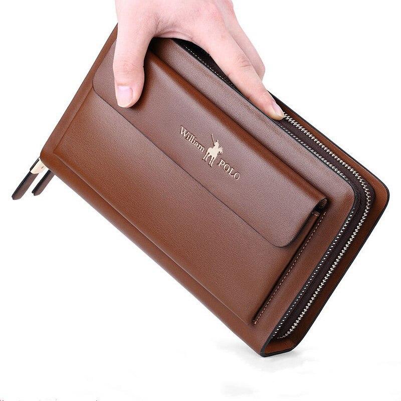 Pochettes de marque pour hommes d'affaires en cuir fendu organisateur de carte de crédit de téléphone grand portefeuille nouveau sac à main de fermeture à glissière de mode