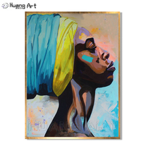 Contemplative African American Portrait Wall Art Canvas for Home Decor Handmade Oil Painting for Wall Decor Offer Drop Shipping