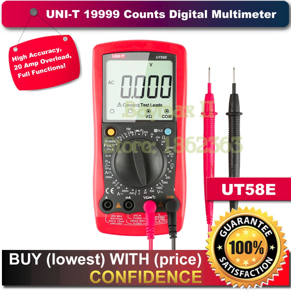 UNI-T UT58E 19999 Counts LCD Digital Multimeter AC/DC Voltmeter Amp Ohm Capacitance Tester LCR meter new uni t ut71b digital multimeter ammeter ohm volt temp meter usb blue universal lcd count 19999 avo electric instrument china