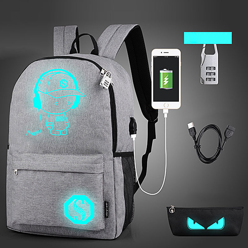 Yesello USB Luminous Black Backpacks Oxford School Book Bags Computer Backpack Large Capacity with Pencil Case and Security Lock new 3u ultra short computer case 380mm large panel big power supply ultra short 3u computer case server computer case