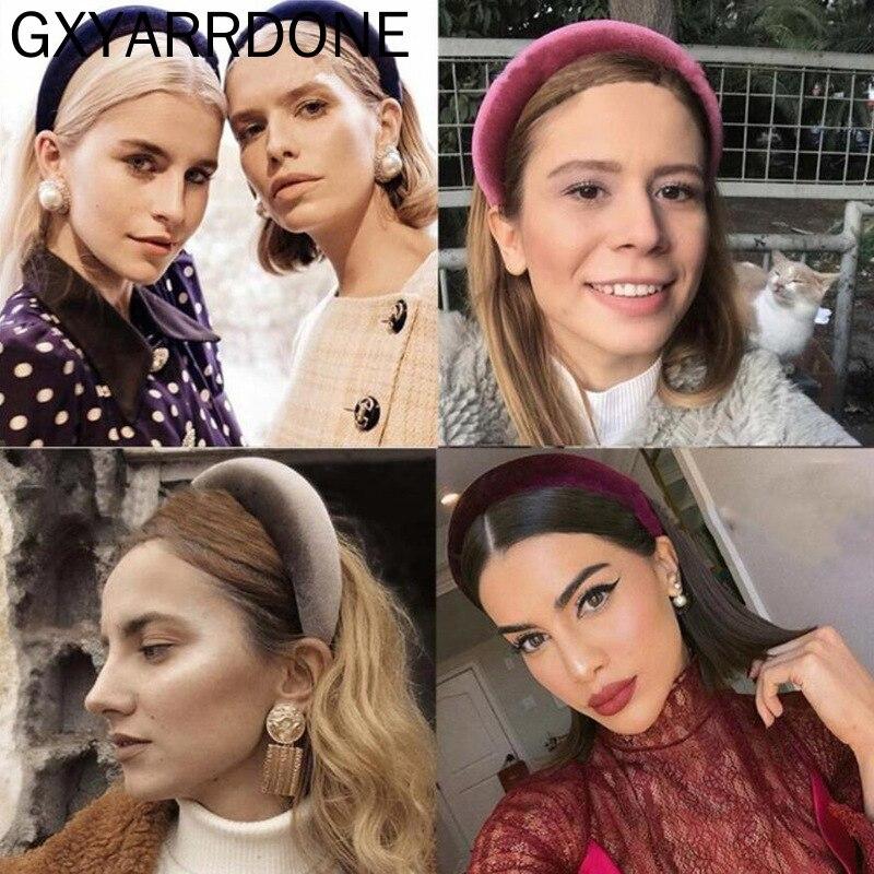 1pcs 2019 Velvet Padded Hairband Elastic Headband Girl Wide Plastic Fashion   Headwear   Head Band Hoop Women For Hair Accessories