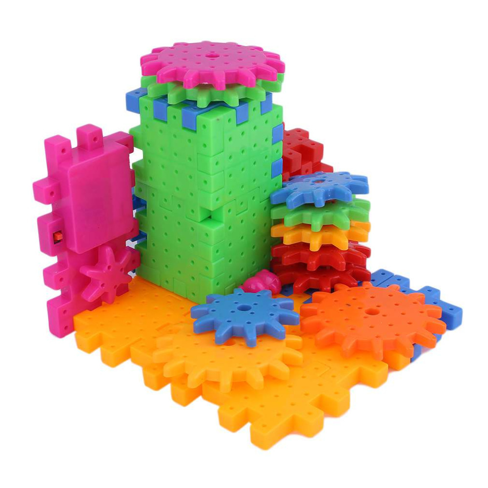 81 Pieces Baby Plastic 3D DIY Building Blocks Toy Creative Magic Educational Mosaic Toy Gear Block Toys for Children Gift ...
