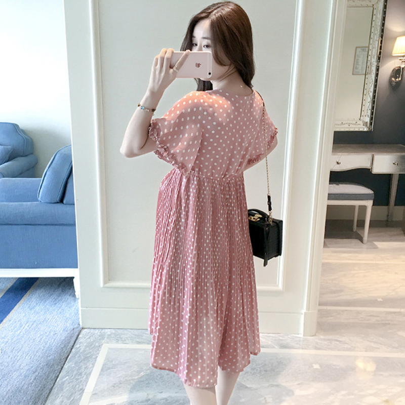 Pregnant Women Midi Pleated Chiffon Dress Pink Polka Dots Summer Pregnancy Clothes Loose Plus Size Maternity Dresses