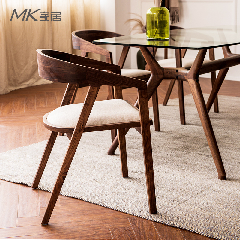 the japanese black walnut wood chair armrest chair upholstered chair desk chair round coffee restaurant ch177 natural side chair walnut ash