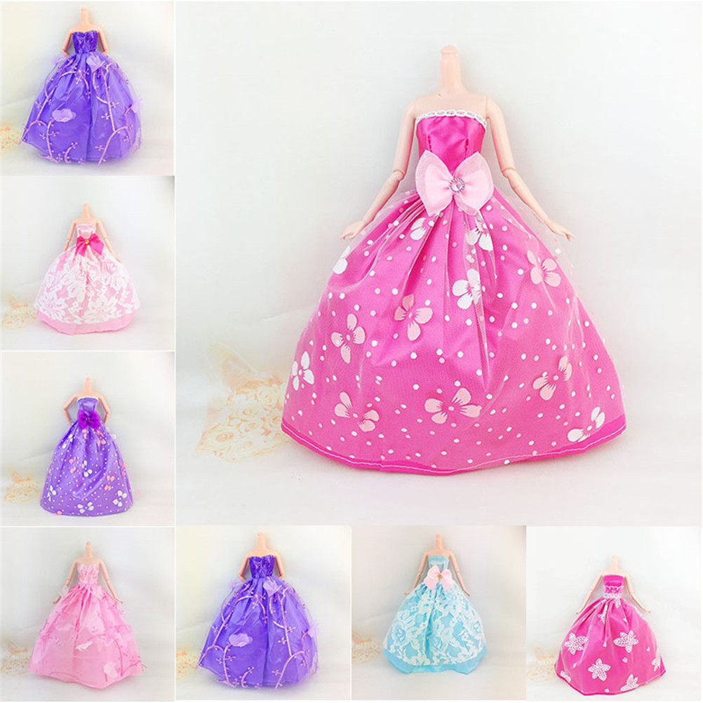 Elegant Lace Sequins Multi Layers Floral Wedding Party Dress For Barbie Doll Accessories Doll Dress Clothes Clothing e ting 1 6 fashion doll clothes western style dress lace wedding evening party girls suit hat veil accessories for barbie doll