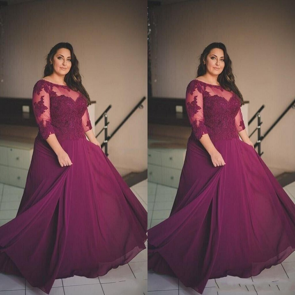 abendkleider Eggplant Evening Dresses Sheer 34 Sleeves Chiffon Plus Size  Formal Dress Evening Gowns ...
