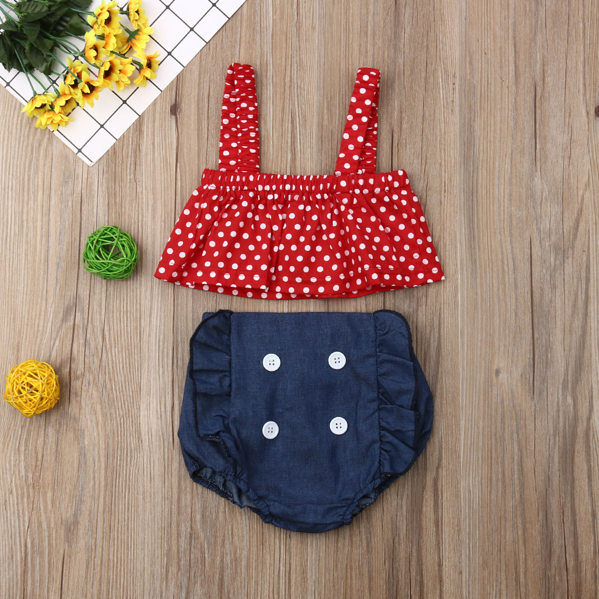Pudcoco Summer Newborn Baby Girl Clothes Polka Dot Strap Cropped Tops Denim Short Bib Pants 2Pcs Outfits Cotton Clothes