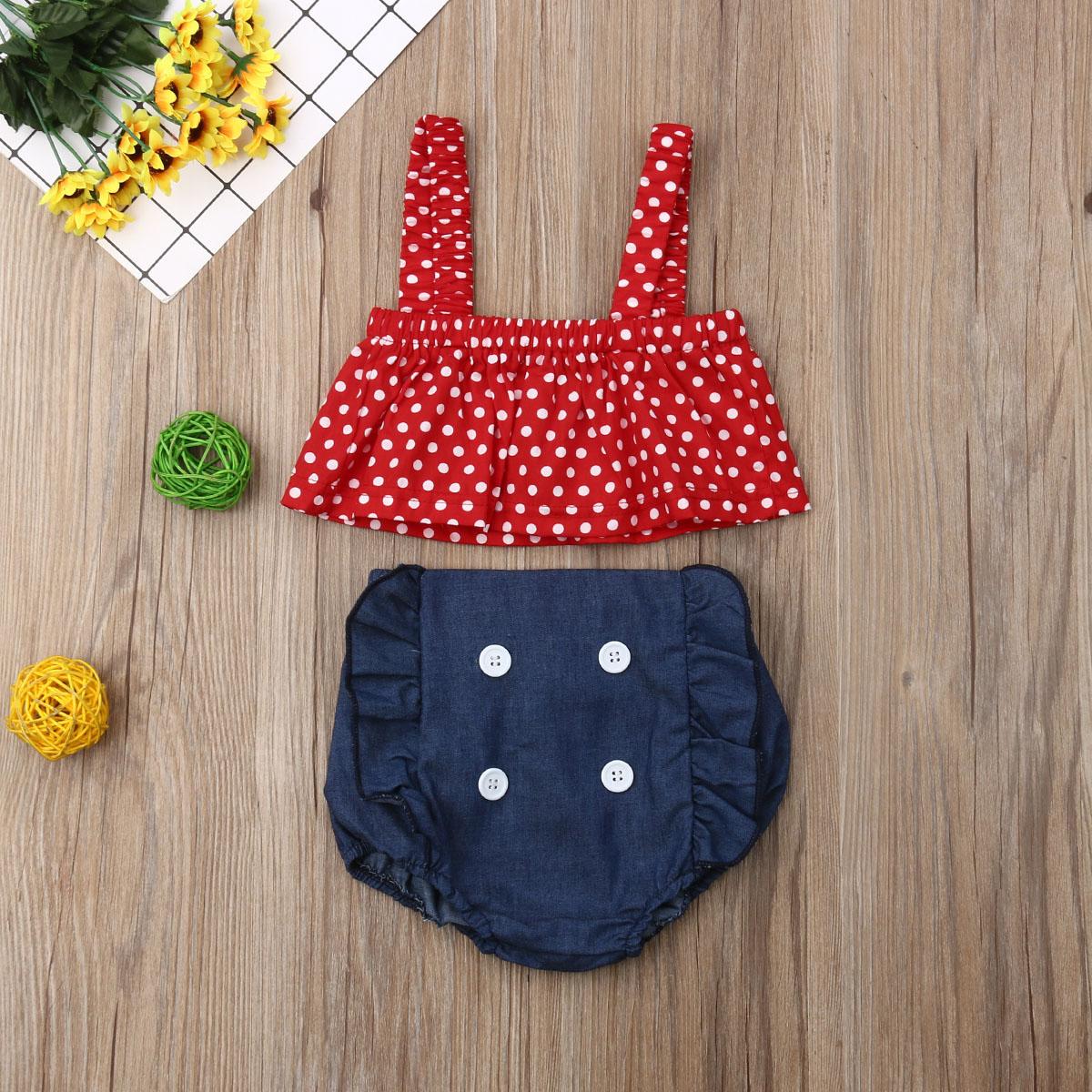 Pudcoco Summer Newborn Baby Girl Clothes Polka Dot Strap Cropped Tops Denim Short Bib Pants 2Pcs Outfits Cotton Clothes