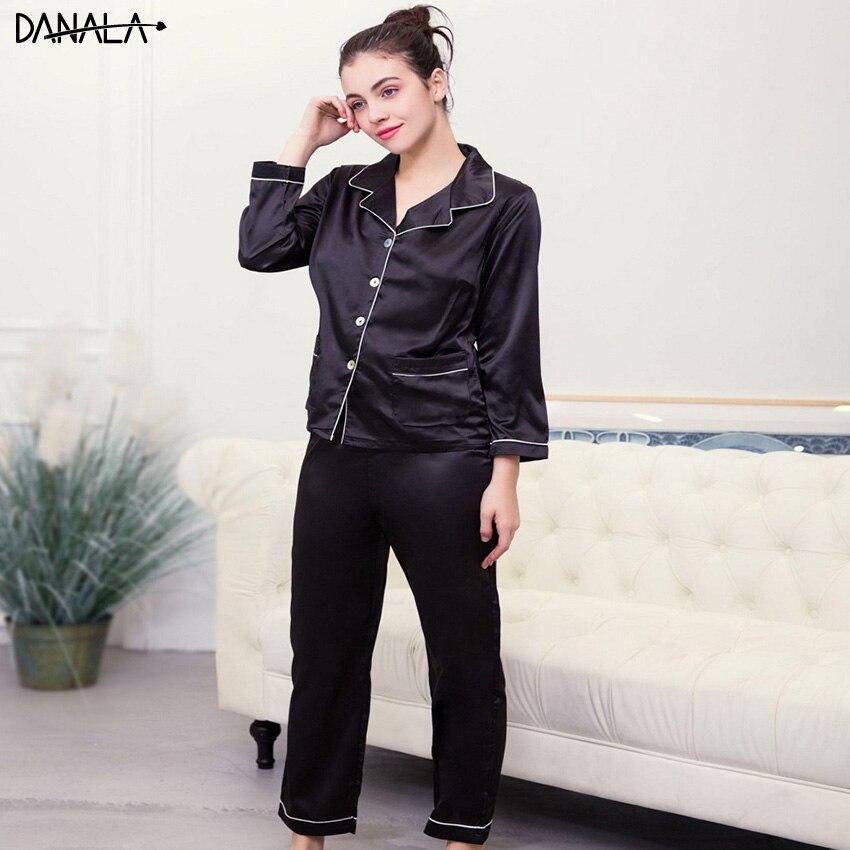 DANALA Silk Satin Women   Pajamas     Sets   Vogue V-Neck Comfortable Black Women Sleepwear   Sets   Home Suits
