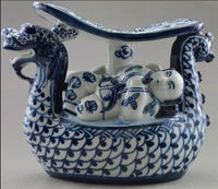 Wedding Decoration Free Shipping Chinese Hand Made Crafts Blue And White Porcelain Dragon Boat Golden Couple