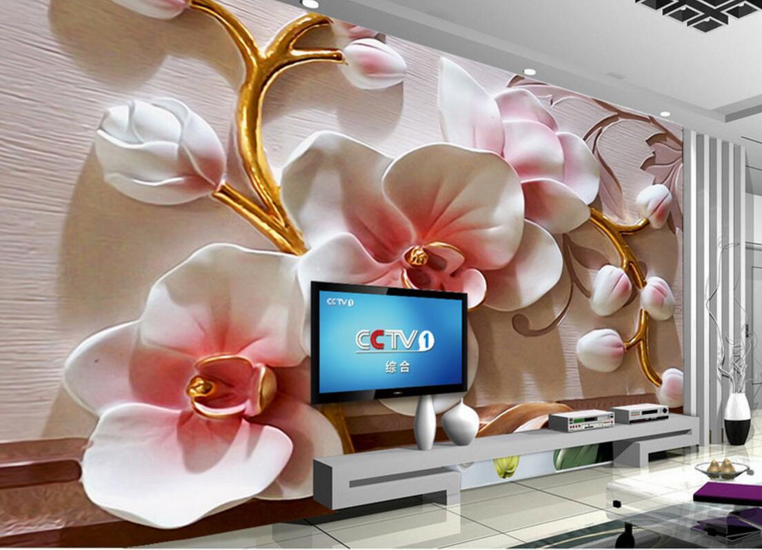 3d Flower Moth Orchid Murals Wedding Photo Mural Restaurant