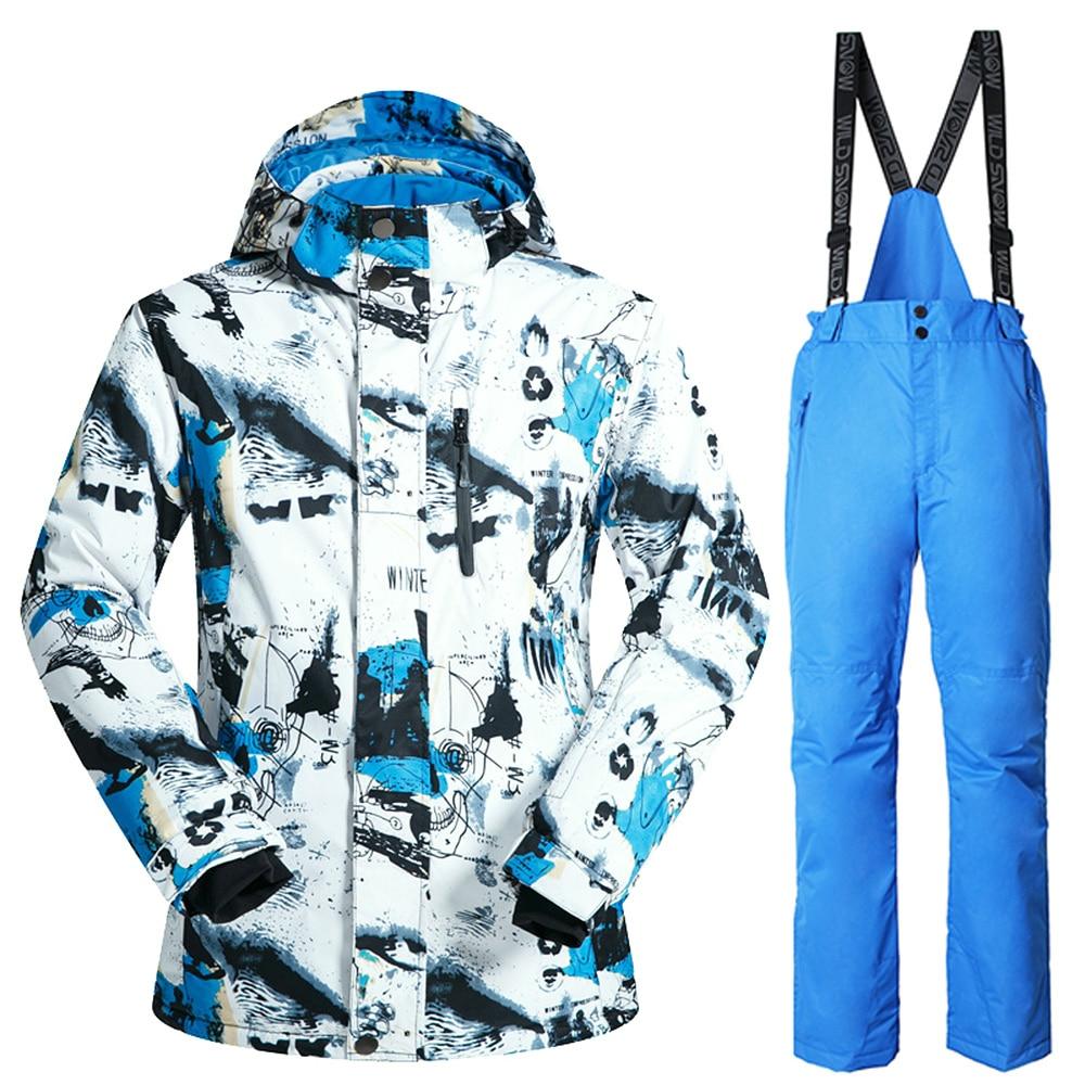 Brand Winter Ski Suit Mens Snowboard Jacket Pants Waterproof Windproof Thermal Outdoor Skiing Clothes men ski brand snowboard costume skiing suit sets waterproof