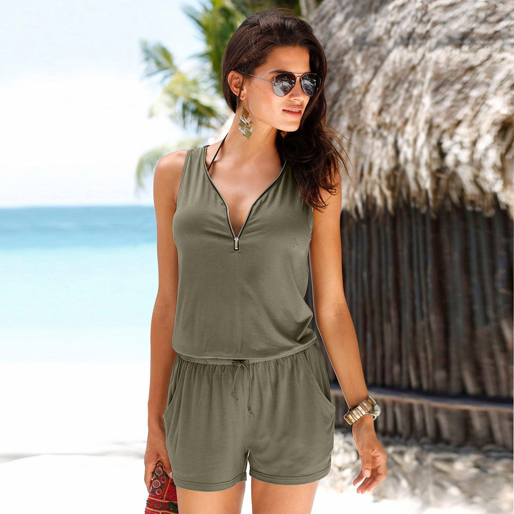 Beach Rompers Playsuit Holiday Zipper Mini Casual Summer -By20