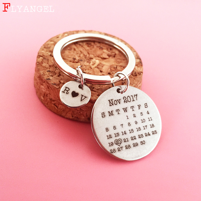 d153ff9f4330 Customized Hand Stamped Calendar Keychain