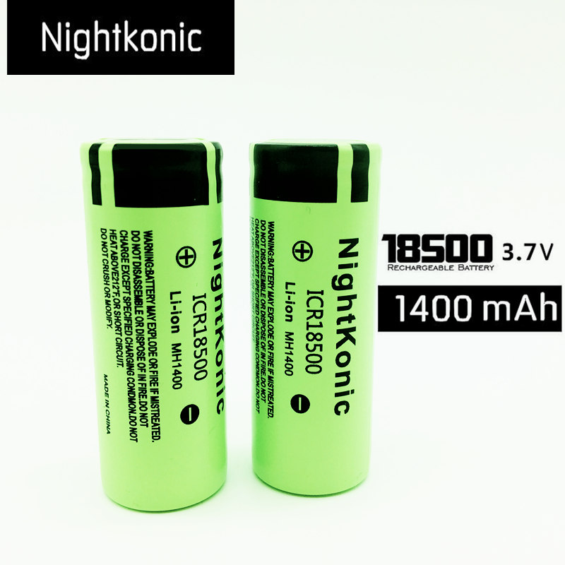NIGHTKONIC 2 PCS/LOT <font><b>ICR</b></font> <font><b>18500</b></font> <font><b>Battery</b></font> 3.7V 1400mAh li-ion Rechargeable <font><b>Battery</b></font> Green image