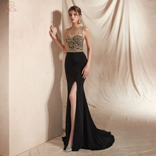 Black Sexy Evening Dresses 2019 Reflective Satin Gold Beading Sequined Top Robe Femme High Split Leg Hot Sale Prom Gowns