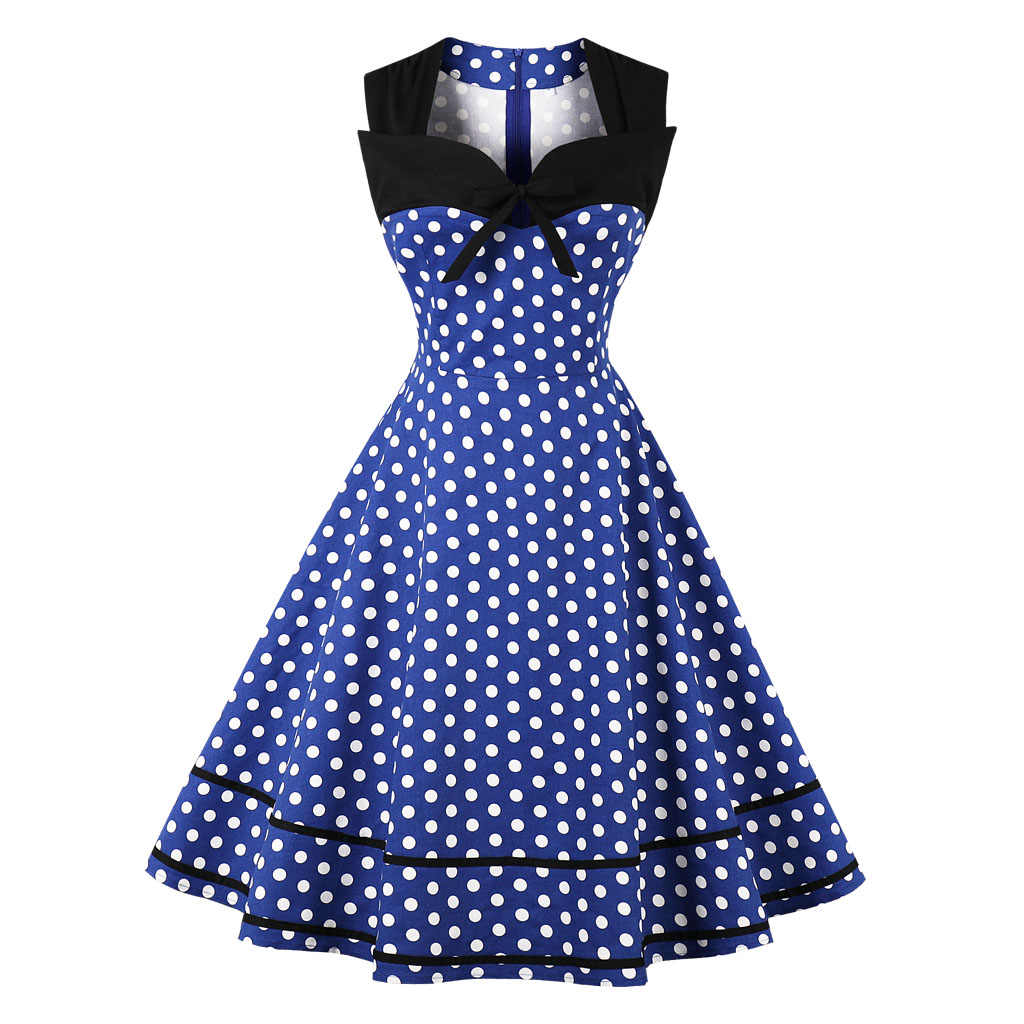 2018 New Vintage Dress 1950s Sleeveless Polk Dots Cotton Dress For