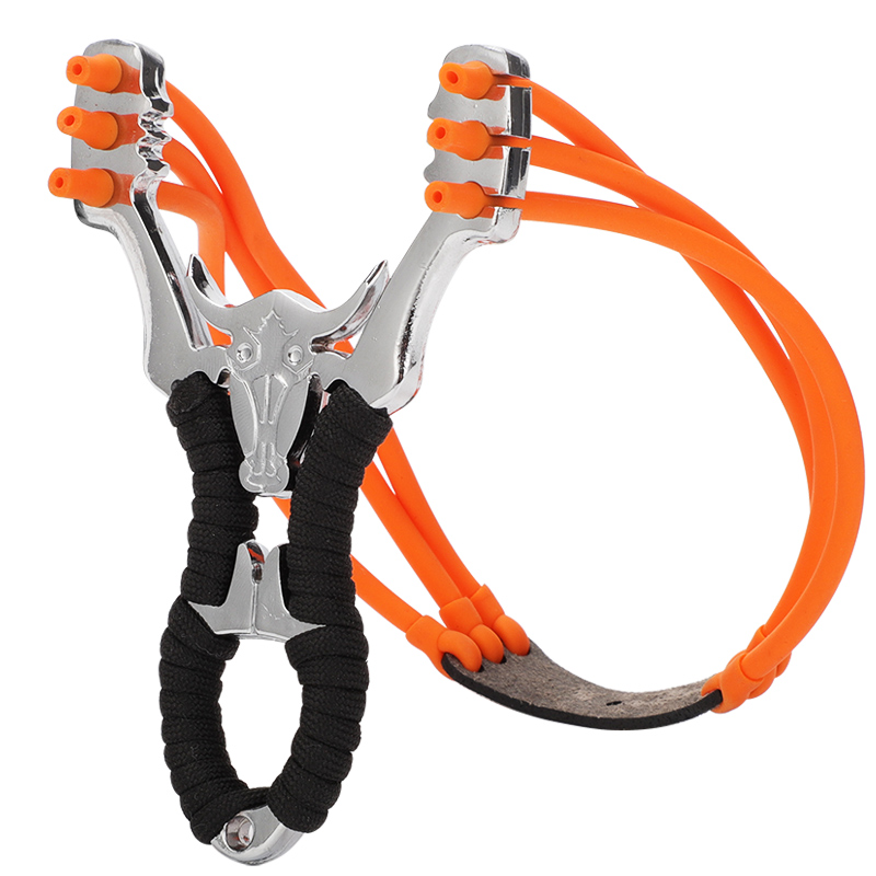 Powerful Alloy Slingshot Hunting Thick Wrist Band Catapult Sports Outdoor Hunting Slingshot Bow Rubber