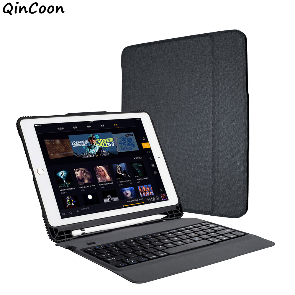 buy wireless keyboard business case with pencil holder for ipad 9 7 2018 2017. Black Bedroom Furniture Sets. Home Design Ideas