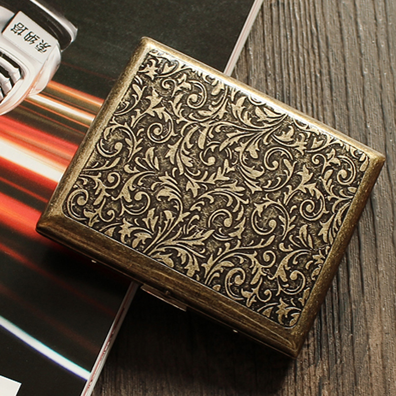 Big Steel Box >> High Quality Stainless Steel Men's Cigarette Case Box Vintage Metal Tobacco Holder for 20 ...