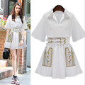Autumn 2016 New Brand Casual Style Embroidery White Shirt Collar Elegant Women Clothing Short Style Mini A-type Dress With Blet