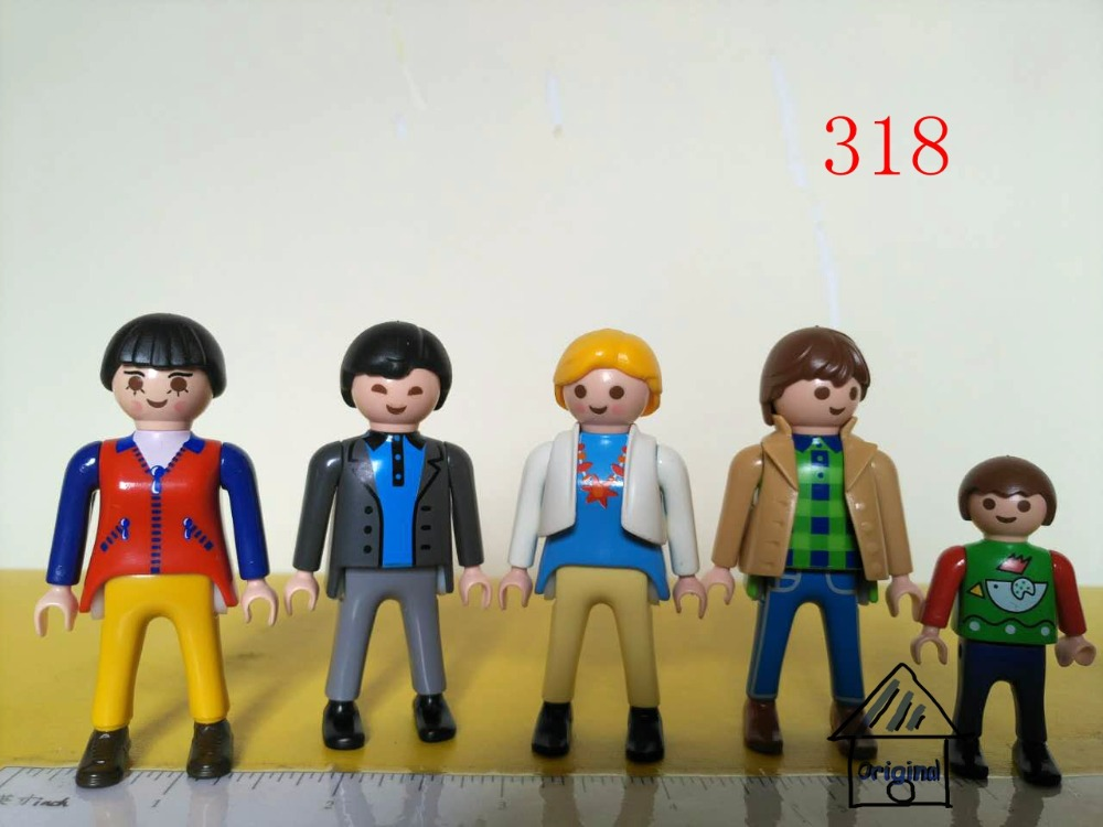 1 set playmobil toy of pretend toy 5 persons family Action Figures mini figure child toys gift